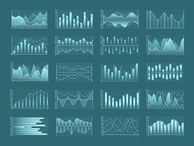 Conjunto de gráficos y diagramas de negocios, diagrama de flujo de plantilla de infografía.