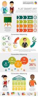 Conjunto de gráficos de educación y marketing.