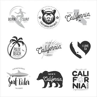 Conjunto de gráficos de estilo surf de california.