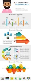 Conjunto de gráficos de infografía concepto de tecnología y marketing