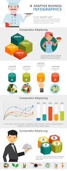 Conjunto de gráficos infográficos de cocina y marketing.