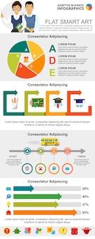 Conjunto de gráficos infográficos de educación y gestión.