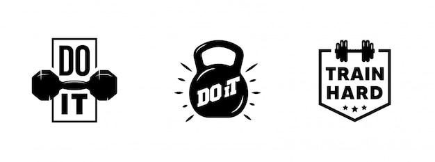 Conjunto de gráficos de motivación vintage de gimnasio, logotipos, etiquetas e insignias