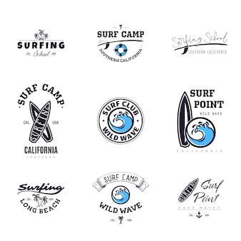 Conjunto de gráficos de surf vintage y emblemas