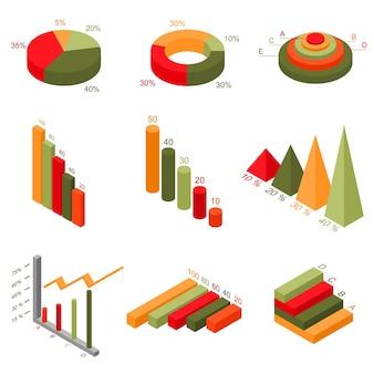 Conjunto de gráficos y tablas de elementos de infografía