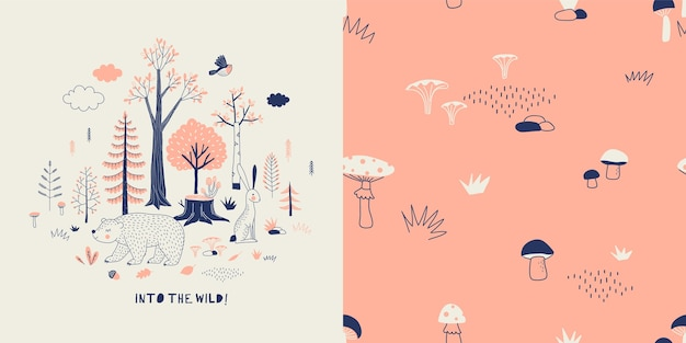 Conjunto de gráficos textiles de moda infantil de vida silvestre de bosque