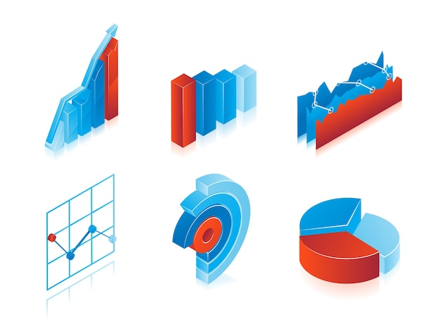 Conjunto de gráficos vectoriales 3d en azul y rojo: gráficos circulares analíticos, gráficos y gráficos de barras para su uso como elementos de diseño en infografías