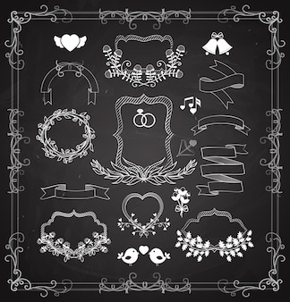 Conjunto de gráficos vectoriales de boda con guirnaldas, marcos y cintas, corazones, campanas y pájaros como elementos de diseño para tarjetas de felicitación e invitaciones en blanco sobre negro
