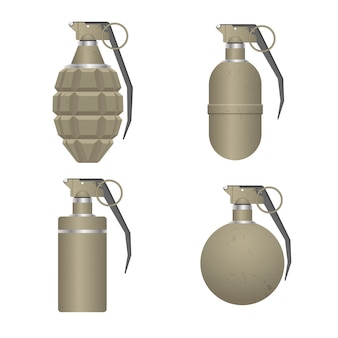 Conjunto de granada de mano realista aislada