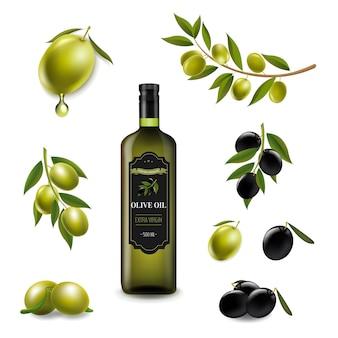 Conjunto grande con aceitunas de rama y con aceite de oliva virgen en botella de vidrio blanco