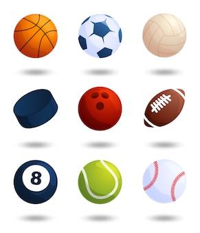 Conjunto grande de bolas de deportes realistas aislado sobre fondo blanco. fútbol y béisbol, juego de fútbol, tenis, bolos, hockey sobre hielo, voleibol.