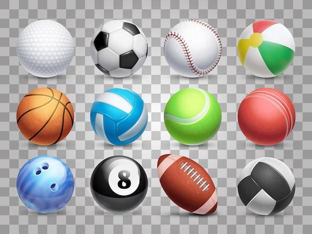 Conjunto grande de bolas de deportes realistas aislado sobre fondo transparente