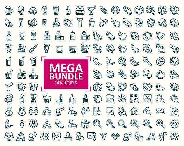 Conjunto grande, conjunto de ilustraciones vectoriales línea fina iconos. 32x32 píxeles perfecto