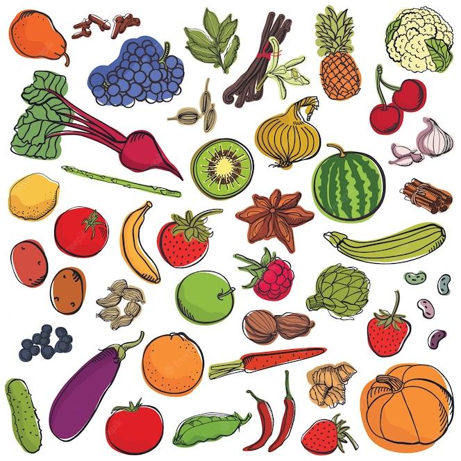 Conjunto grande de especias y verduras y frutas