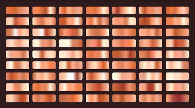 Conjunto grande de degradados metalizados de naranja o cobre.