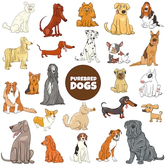 Conjunto grande de dibujos animados de perros de raza pura