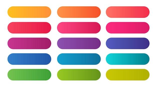 Conjunto grande de elegantes tonos degradados de colores