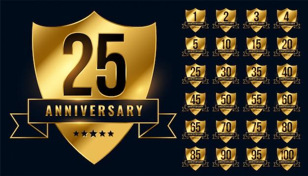 Conjunto grande de emblema de logotipo de aniversario de oro premium