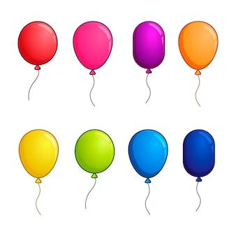 Conjunto grande de globos, globos brillantes de colores
