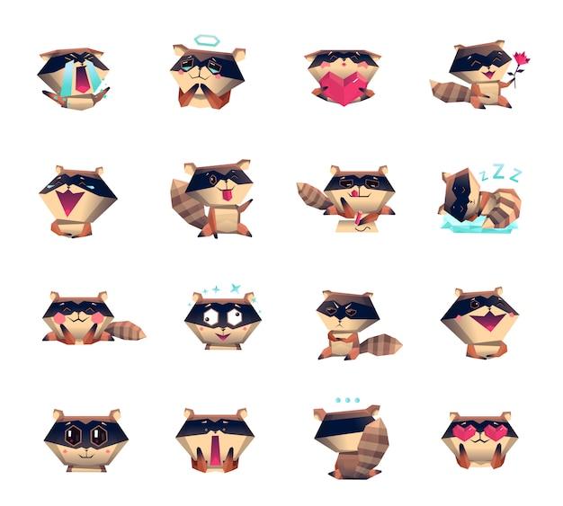 Conjunto grande de iconos de dibujos animados de mapache