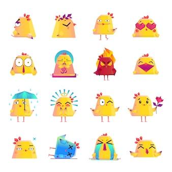 Conjunto grande de iconos de dibujos animados de pollo iconos