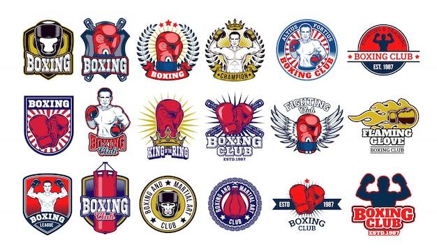 Conjunto grande de insignias de boxeo, pegatinas aislados en blanco.