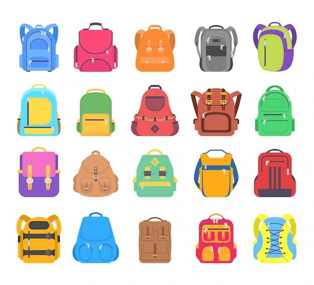 Conjunto grande mochila escolar, deporte y bolsa de viaje aislado sobre fondo blanco.