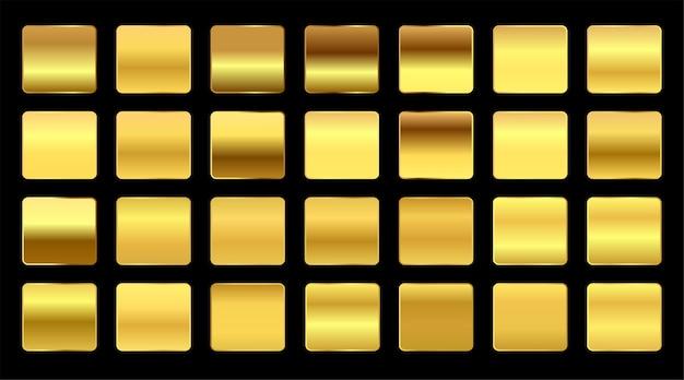 Conjunto grande de muestras de degradados de oro amarillo premium