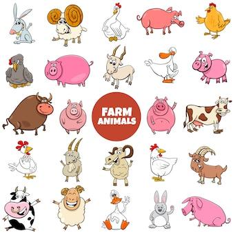 Conjunto grande de personajes de animales de granja de dibujos animados