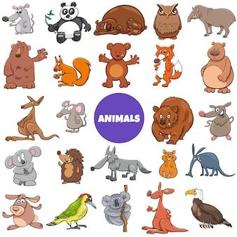 Conjunto grande de personajes cómicos de animales salvajes