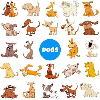 Conjunto grande de personajes de dibujos animados perros y cachorros
