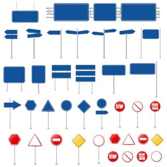 Conjunto grande de señales de alto y colección de señales de tráfico fondo blanco con malla de degradado