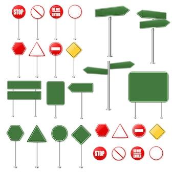 Conjunto grande de señales de alto y colección de señales de tráfico sobre fondo blanco