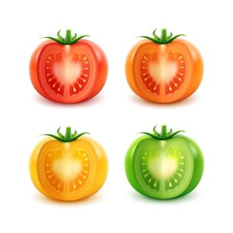 Conjunto de grandes tomates frescos cortados maduros rojo verde naranja amarillo de cerca sobre fondo blanco.