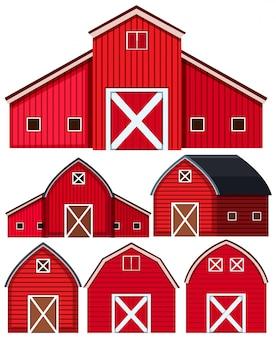 Conjunto de graneros rojos sobre fondo blanco.