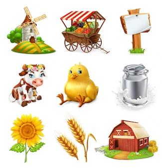 Conjunto de granja plantas agrícolas, animales y edificios. icono 3d