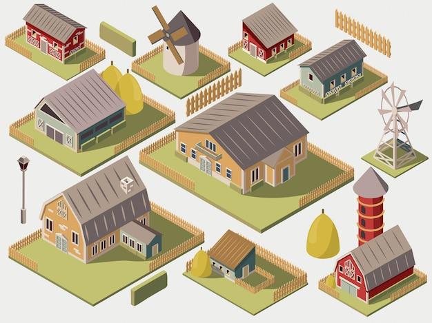 Conjunto de granjas isométricas con molinos de granero y cerca de heno de silo