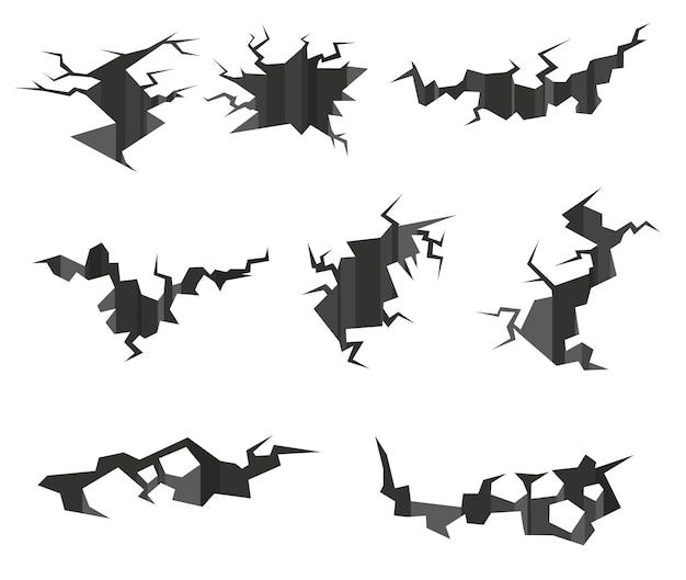 Conjunto de grietas por terremoto. ilustración de dibujos animados