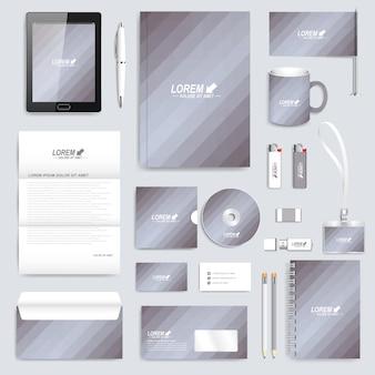 Conjunto gris de plantilla de identidad corporativa