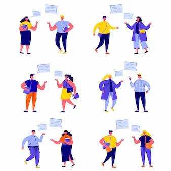 Conjunto de grupo de estudiantes de personas planas en personajes de debate