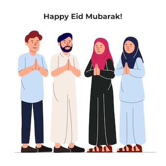 Conjunto grupo de jóvenes musulmanes juntos saludando eid mubarak
