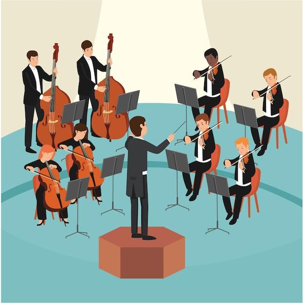 Conjunto de grupo de orquesta con el conductor en el escenario