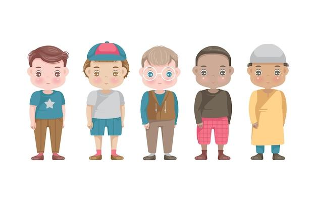 Conjunto de grupo de personajes de niños.