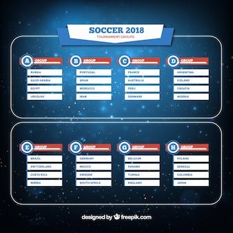 Conjunto de grupos del campeonato mundial de fútbol en estilo plano
