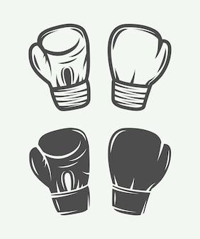 Conjunto de guantes de boxeo vintage en estilo retro