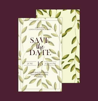 Conjunto de guardar las tarjetas de fecha con follaje de hojas