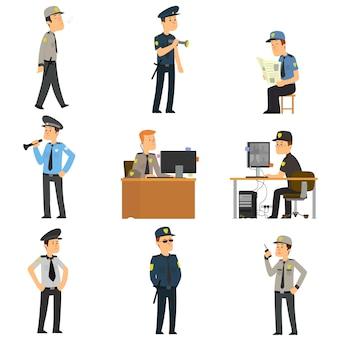 Conjunto de guardias en diferentes poses.