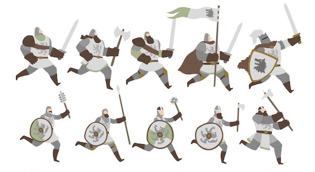 Conjunto de guerreros del ejército del lobo del norte.