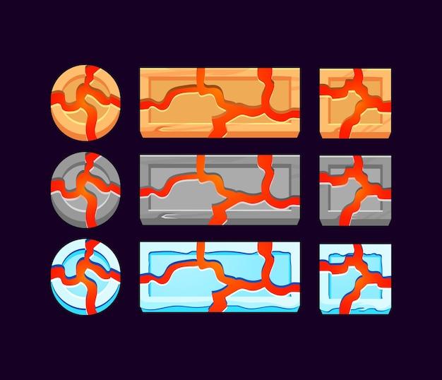Conjunto de gui de madera, piedra y hielo con botón de lava para elementos de activos de la interfaz de usuario del juego
