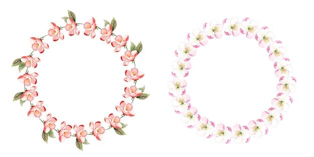 Conjunto de guirnalda floral acuarela hecha a mano